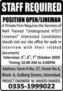 Lineman Job 2020 in Islamabad