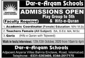 Dar e Arqam Schools Walk In Interviews
